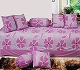 Hargunz 8 Piece Floral Cotton Diwan Set-Wine