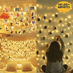 10M 100LED Guirlande Lumineuse Interieur Photo Chambre LED, Decoration Chambre, Porte Photo Mural, Guirlande Photo (50 Clips & 20 Clou)