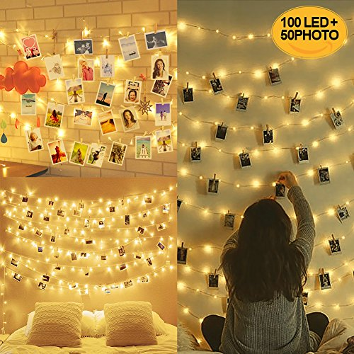 10m 100led luci per foto polaroid, lucine led decorative per camere, porta foto mollette, luci led foto clip, luci mollette led, luci tumblr camera (con 50 clip & 20 chiodi)