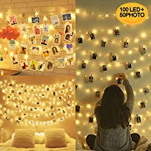 100LED Peg Lights for Photo Peg and String - 10M Fairy Lights with Pegs Photo Frames Photo Clip String Lights, Hanging Photo Frames Decorations (with 50 Clip & 20 Nails)