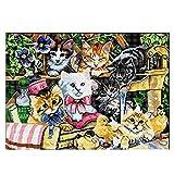 IPOTCH Kreuzstich Stickpackung Gestempelt mit Anleitung zum Selbersticken - Katzen - 60 x 45 cm 11CT
