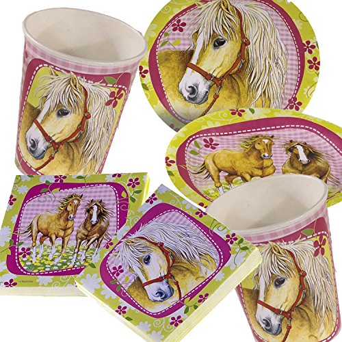 PFERDE * mit Pappteller + Servietten + Pappbecher + Luftballons für Kindergeburtstag // Teller Becher Essen Pappe Geschirr Party Deko Dekoration Einweg Kinder Geburtstag Mottoparty Horses Pony Pferde ()