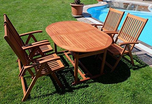 Gartengarnitur Tisch 150-200x100 + 4 Hochlehner 7-fach verstellbar LIMA Eukalyptus Hartholz wie Teak von AS-S
