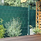 10 Sichtschutzstreifen Moosgrün im Set - Hart PVC -Sichtschutz - Windschutz - Zaunstreifen zum Einflechten - Doppelstabmatten Zaun - Stabgitterzäune