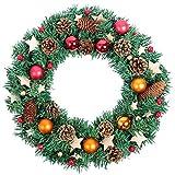 Nrpfell Weihnachtskranz, 40cm Kiefern Kegel Holz Stern Ahornblatt Herbst Tuer Kranz Tuer Wand Ornament Weihnachten