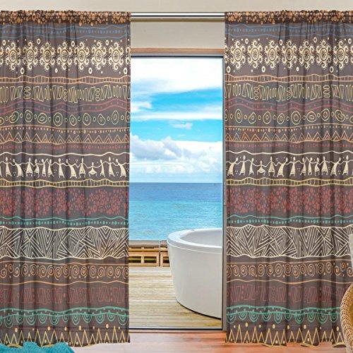 yibaihe Fenster Vorhänge, Gardinen Platten Fenster Behandlung Set Voile Drapes Tüll Vorhänge Braun afrikanischen Muster 198cm lang für Wohnzimmer Schlafzimmer Girl 's Room 2Platten - Wohnzimmer Vorhänge 36