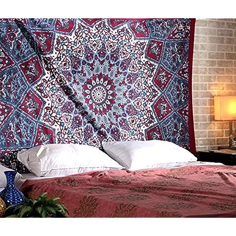 Ampliación de la tapicería del Hippie, Hippy Mandala de Bohemia, Tapices india decoración del dormitorio, Psychedelic Tapiz Tapiz Tapiz decorativo étnico, 85 x 90 pulgadas por