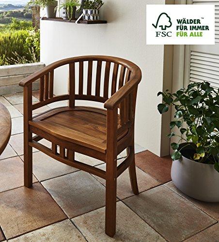 SAM Garten-Sessel Karlebo, Sessel aus Akazien-Holz, Stuhl für Balkon Terrasse, Gartenmöbel, FSC...