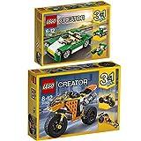 Lego Creator 3-in-1 2er Set 31056 31059 Grünes Cabrio + Straßenrennmaschine