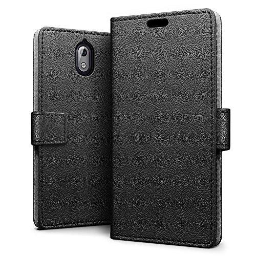 SLEO Nokia 3.1/Nokia 3 2018 Hülle, PU Leder Case Tasche Schutzhülle Flip Case Wallet im Bookstyle für Nokia 3.1/Nokia 3 2018 Cover - Schwarz
