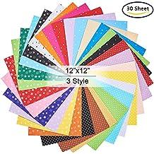 BENECREAT 30PCS 12 x 12 pulgadas (30 cm x 30 cm) DIY Poliester con dibujos de fieltro suave tela cuadrados sabanas colores surtidos para manualidades, 1 mm de espesor
