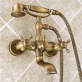 SADASD European Copper Badezimmer Badewanne Armatur Set antiken Doppelbett Dusche Wasserhahn Set Badewanne Armatur in der Mauer in die Dusche heiß und Kalt Mischbatterie