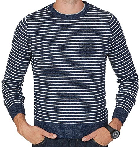 Nautica Mens Stripe Knit Pullover Crewneck Sweater Blue 2XL (Blue Striped Crewneck Pullover)