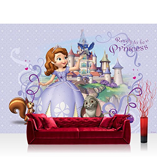 Fototapete 254x184 cm PREMIUM Wand Foto Tapete Wand Bild Papiertapete - Cartoon Tapete Disney Sofia die Erste Eichhörnchen Hase Schloss lila - no. 1842