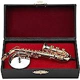 Miniatura sassofono contralto in miniatura con supporto e custodia placcati oro modello strumento ornamenti regalo di grado s