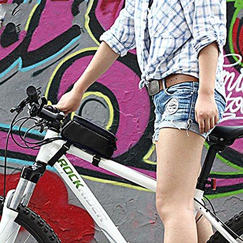 Fahrrad Aufbewahrungstasche Fahrrad Rahmen Front Tube Beam Tasche Transparent PVC 14cm Touchscreen Handy Tasche Bike Zubehör Schwarz