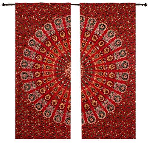Pfau Mandala Gardinen Vorhänge Fall Room Hippie Tapisserie Tür cutain Decor Fenster Living Kinder Mädchen, 2Platten Set, 208,3x 208,3cm Fenster Vorhang Volants Raumteiler 2PC Panel Set,