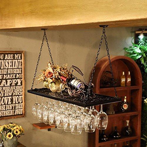 Estilo europeo retro hierro estilo industrial bar restaurante colgante titular de la copa Bar decoración de los bastidores de vino copa de vino titular taza colgante ( Color : Negro , Tamaño : 100*31cm )