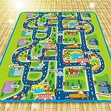 Alfombra de juego para niños marca Houda, con imagen de ciudad y calles para coches