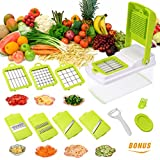 Godmorn Vegetable Slicer,Multi-function Food Slicer, Mandoline Slicer Dicer, Fruit and Cheese Cutter, Chopper,Grater,7 Interchangeable Blades/Grater + Peeler + Safety Food Holder + Food Catching Container