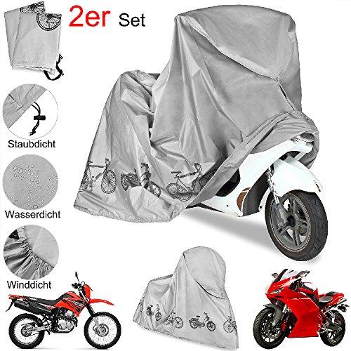 2er Set Motorradabdeckung Abdeckplane Fahrrad Roller Moped Abdeckung Garage Plane Schutzhülle - Wasserdicht - Winddicht - staubdicht