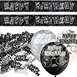 Black Silver Glitz Happy Birthday Banner Party Decoration Pack Kit Set