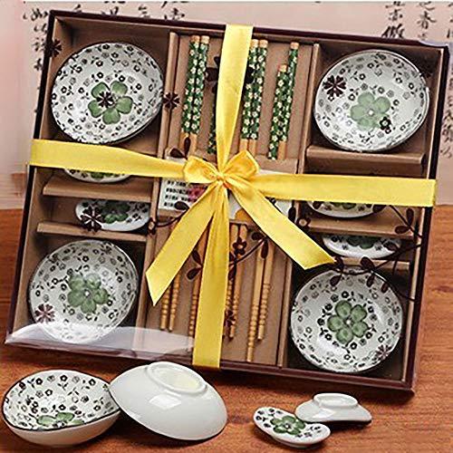 Finsink, Kit per sushi per quattro persone, set da 12 pezzi per sushi  con piattini design petalo di fiore verde