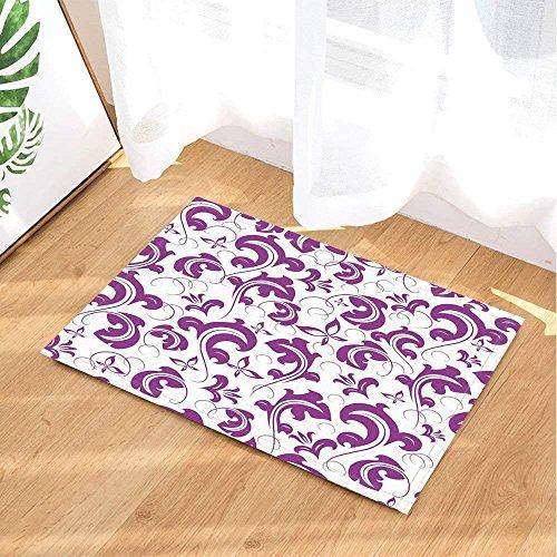 (Violet Bath Rugs by AdaCrazy Einfache Lila Blume Kunst Digitaldruck Rutschfeste Fußmatte Boden Eingänge Innen Haustürmatte Kinder Badmatte 15.7x23.6in Bad-Accessoires)