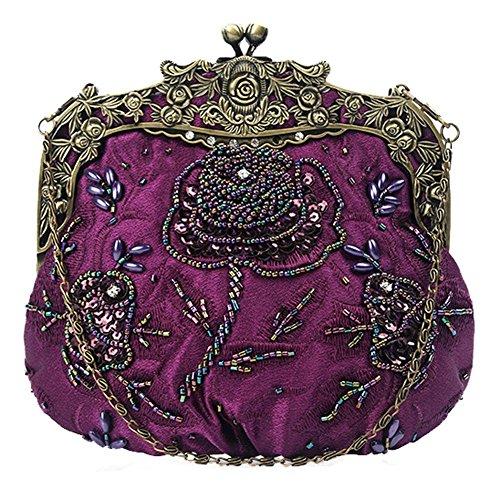 Frauen Antik Floral Perlen Pailletten Abendtasche Dinner Party Hochzeit Handtaschen. 18 X 16 Cm purple