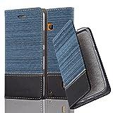 Cadorabo Hülle für Nokia Lumia 929/930 - Hülle in DUNKEL BLAU SCHWARZ – Handyhülle mit Standfunktion und Kartenfach im Stoff Design - Case Cover Schutzhülle Etui Tasche Book