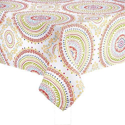 CIRCLE Stitch Design bedruckter Stoff Tischdecke, Red, Green, Orange, Blue, White, 70 Round (Tulip Korb)
