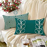 STITCHNEST Ethnic Flowers Tree Printed Canvas Cotton Rectangular Cushion Covers,Teal,Yellow Set of 2 (12 x 18