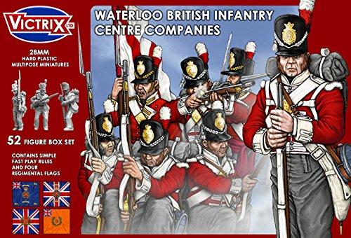 Victrix VX0001 - Waterloo British Infantry Center Companies - 52 Figurenboxen mit Flaggen - 28mm Plastikminiaturen Napoleon -