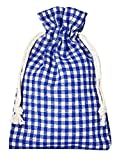 12 bolsitas de algodón, bolsas de algodón estilo rústico, tamaño 14 x 10 cm, elemento decorativo, decoración romántica, a cuadros,azul-blanco