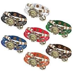 Taffstyle Damen-Armbanduhr Analog Quarz mit Leder-Armband Geflochten Charms Anhänger Uhr Retro Vintage