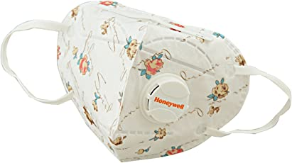 Honeywell PM 2.5 Anti Pollution Foldable Face Mask with Easy Exhalation Valve, White and Red Printed, Box of 5