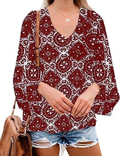 Style Dome Oberteile Damen Casual Langarm V Ausschnitt Bluse Floral Shirt Tunika Tops Puffärmel Weinrot-C61678 M Floral Dome