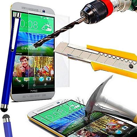 A&D® FILM PROTECTION Ecran en VERRE Trempé HTC ONE M9 filtre protecteur d'écran INVISIBLE & INRAYABLE vitre INCASSABLE pour Smartphone HTC M9 dual double sim 4G (+ STYLET BLEU)