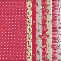 Set de telas - 8 telas (rojas) - colección de telas de coordinación (pequeños diseños)   100% algodón   46 x 56 cm