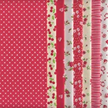 Set de telas - 8 telas (rojas) - colección de telas de coordinación (pequeños diseños) | 100% algodón | 46 x 56 cm
