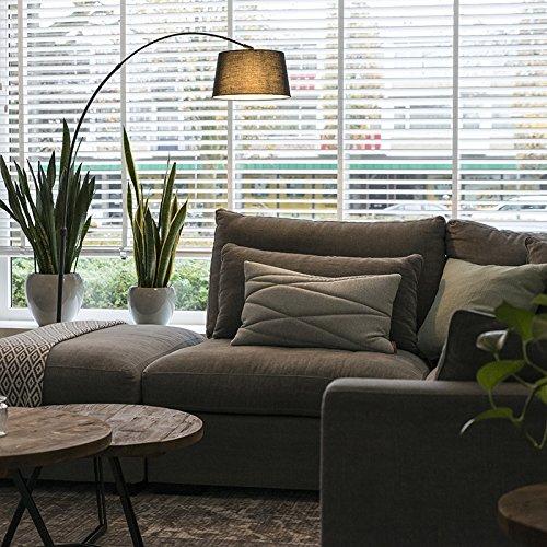 QAZQA Modern Bogenleuchte / Bogenlampe / Lampe / Leuchte Arc schwarz mit schwarzem Stoffschirm / Innenbeleuchtung / Wohnzimmer / Schlafzimmer Metall / Textil / Rund LED geeignet E27 Max. 1 x 20 Watt