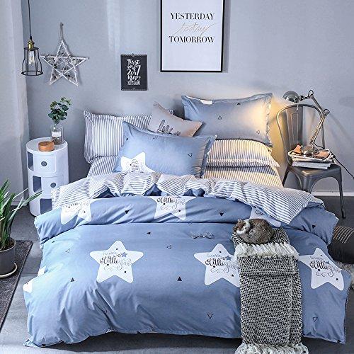 KFZ Bett Set (Zwei Full Queen King Size) [4: Bettbezug, Bettlaken, 2Kissenbezüge] keine Tröster KY-Twinkle Star Twinkle Star Starry Sky Print Blumen für Kinder, Erwachsene, Microfaser, Twinkle Star, Blue, Queen 78