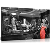 Lienzo impreso de Marilyn Monroe Elvis Presley James Dean Red Dress en blanco y negro (30x20in)