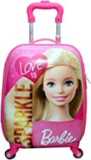 Kris toy 360Degree Rotating, Barbie Printed, Non-Breakable and Extra Light Weight Trolley Bag (22inch, Pink)