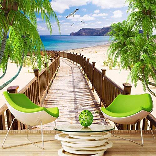 Benutzerdefinierte 3D Fototapete Holzbrücke Meerblick Strand Wohnzimmer Sofa TV Hintergrund Wandmalereien Tapeten Dekor 300x210cm - Adler-raum-dekor