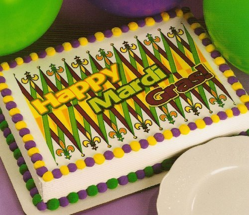 Happy Mardi Gras! ~ Edible Image Cake Topper by A Birthday Place -