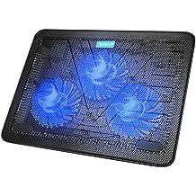 Base de Refrigeración TeckNet para Ordenador Portátil de 12-17 Pulgadas 3 Ventiladores Silenciosos con LEDs, 2 USB Puertos, 2 Niveles de Diseño Ajustable