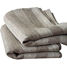 Linenme Toalla de mano y toalla de visitas Lucas, de lino natural con rayas.