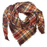 Distressed XXL Damen Oversized Schal Ÿbergro§er Deckenschal Karo Plaid Muster kariert Poncho - braun-orange