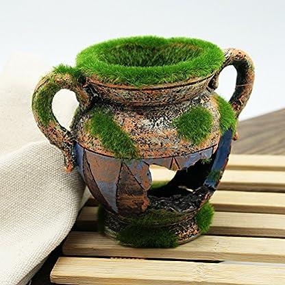 Dimart Simulation Resin Vase with Moss Aquarium Decorations Fish Tank Landscape Ornament 4